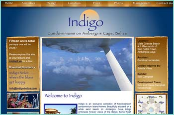 Indigo is an exclusive collection of three-bedroom condominium island-homes. Beautifully situated on a white sand beach on Ambergris Caye, Indigo embraces forever views of the Belize Barrier Reef. Footsteps from the water's edge. Light years from hustle and bustle. The design is Tropical Rustica, with an emphasis on natural shapes, natural materials, effortless elegance and excellence. Soaring tree-trunks support broad curved verandas where the cooling sea breezes and brilliant view of sea and reef await you every day.
