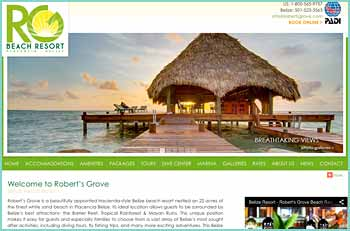 Robert's Grove is one of Belize's top luxury beachfront resort hotels, rated 5 stars by Belize First Guide to Mainland Belize. This gracious, beautifully appointed hideaway enjoys an ideal location near Belize's main attractions  the Barrier Reef, Tropical Rain forest and Maya Ruins. We're equipped to make your visit to Placencia and Belize an unforgettable one.
