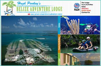 Welcome to Hugh Parkey's Belize Adventure Lodge, on the 186 acre privately owned Spanish Look-Out Caye located just 25 minutes from Belize City and a short distance from the barrier reef. The Belize Adventure Lodge is a full service facility offering 12 individual cabanas over the water, comfortable student dormitory, restaurant, bar, gift shop, as well as meeting and classroom facilities for vacationers, educational and incentive reserach groups. Hugh Parkey's Belize Dive Connection, an established full service PADI facility on site, provides diverse dive and snorkel packages.