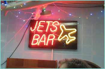 Jet's Bar Belize, in the International Airport. Home to the 73 year old fellow Jet.