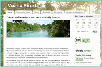 Vanilla Hills Lodge is situated in the rolling hills of Cayo on a wooded lot on the banks of the Mopan river. Although only five minutes from San Ignacio Town, the tourist center of Western Belize, the lodge is surrounded by peaceful nature. Vanilla Hills is your ideal starting point for a multitude of tours. From here you are within easy reach of famous Maya sites, impressive cave labyrinths, the tropical jungle and many more day tours.