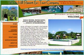 Windy Hill Resort is located in the foothills of the Maya Mountains, the most diverse area of Belize. This beautiful resort provides all the modern conveniences in a lush tropical setting and just minutes from the archaeological sites, rivers, caves and other attractions that visitors come to see and experience in Belize. After a busy day of trekking around the Maya ruins, canoeing or tubing through the caves, hiking through the rainforest, or horseback riding along jungle trails, you will enjoy the relaxed atmosphere and the amenities of Windy Hill.