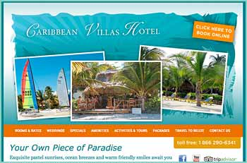 Your Own Piece of Paradise. Exquisite pastel sunrises, ocean breezes and warm friendly smiles await you at Caribbean Villas Hotel in San Pedro, on Ambergris Caye in Belize. With only twelve comfortable rooms in 2.5 acres of gardens, this intimate hotel is fronted by 250 feet of private sandy beach and featuring an ocean front fresh-water pool, hot tubs, and the friendly Catamaran Beach Bar. You can snorkel at the artificial reef located at the end of our private 300 foot dock. Tour boats will pick you up from the dock to take you snorkeling, diving, manatee watching, cave tubing, visit Mayan ruins. If you are seeking a relaxing getaway, a spell of renewal, or a stepping stone to adventure, you will experience all of that and more at Caribbean Villas Hotel.