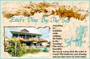 Just dying for breakfast while walking the beach in the morning? The reef is beautiful, the sun in warm, heck the water is warm! The birds are your friends, and you don't have  to work today. But wouldn't a nice glass of fresh squeezed fruit juice and some johnny cakes just hit the spot? And why leave the gorgeous scenery, just walk on over to Estel's Dine  By The Sea. While viewing the spectacular Caribbean morning, you'll enjoy the best food in town, and we're here early every day. If you beat us here just have a seat and we'll be right along... Charlie Sr., Estella, and Charlie Jr. run this establishment, so when you are hungry, or just want to pause along the beach for coffee, look us up!
