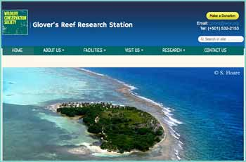 The Glover's Reef Research Station is an ideal location for marine research and the only research facility within the Glover's Reef Marine Reserve.  Owned by the Wildlife Conservation Society, the station is located approximately 45 km off the coast of Belize on the Glover's Reef Atoll, the southernmost of Belize's three coral atolls, which supports extraordinarily high biological diversity across its 35,000 hectares. Since 1995, the station has provided a platform for scientists to conduct cutting-edge research at one of the Caribbean's most complex and important coral reef systems.
