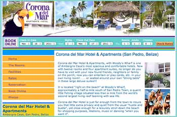 Corona del Mar Hotel & Apartments, with Woody's Wharf is one of Ambergris Caye's most spacious and comfortable hotels. Now with twelve rooms and four apartment suites, no longer do you have to visit with your new found friends, neighbors or family on the porch; now you can entertain or play cards, etc. in your own living room! . . . or seated around your own dining table in these large deluxe suites!!!