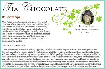Tia Chocolate writing on Island Life. Short stories, anecdotes, Life on Ambergris Caye, Belize.....