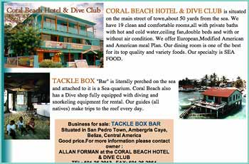 A website from the past, CORAL BEACH HOTEL & DIVE CLUB is situated on the main street of town,about 50 yards from the sea. We have 19 clean and comfortable rooms,all with private baths with hot and cold water,ceiling fan,double beds and with or without air condition. We offer European,Modified American and American meal Plan. Our dining room is one of the best for its top quality and variety foods. Our specialty is SEA FOOD. TACKLE BOX Bar is literally perched on the sea and attached to it is a Sea-quarium. Coral Beach also has a Dive shop fully equipped with diving and snorkeling equipment for rental. Our guides (all natives) make trips to the reef every day.